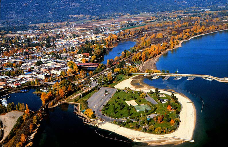 Aerial view of Sandpoint, Idaho