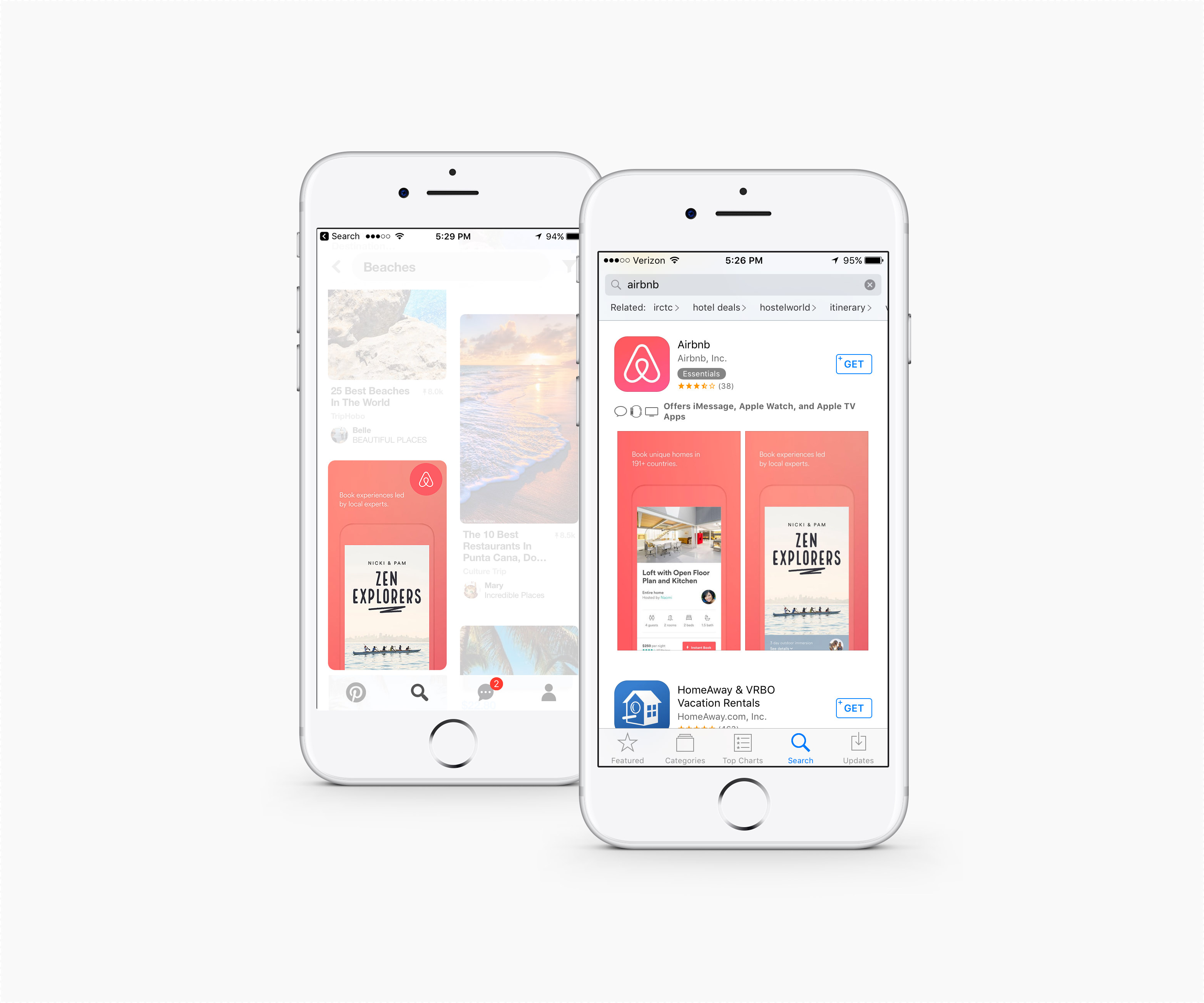 Two smartphones with Airbnb app images on Pinterest and Apple Store