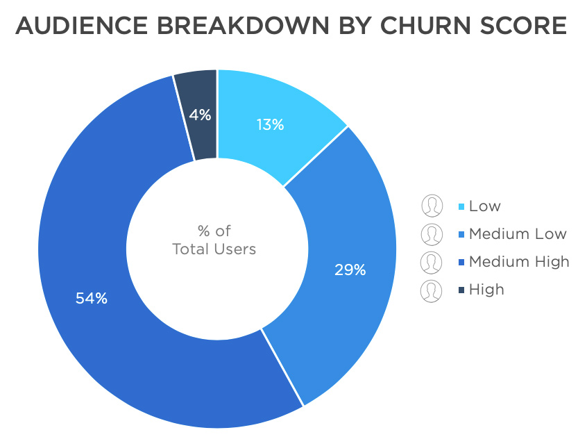 Audience breakdown by churn score