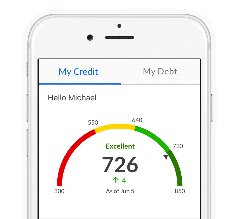 Smartphone with a credit score interface