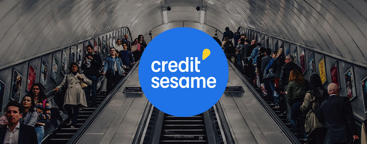 People going up and down an escalator and Credit Sesame colored logo