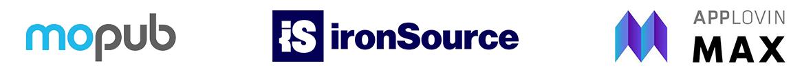 MoPub logo, IronSource logo, AppLovin Max logo