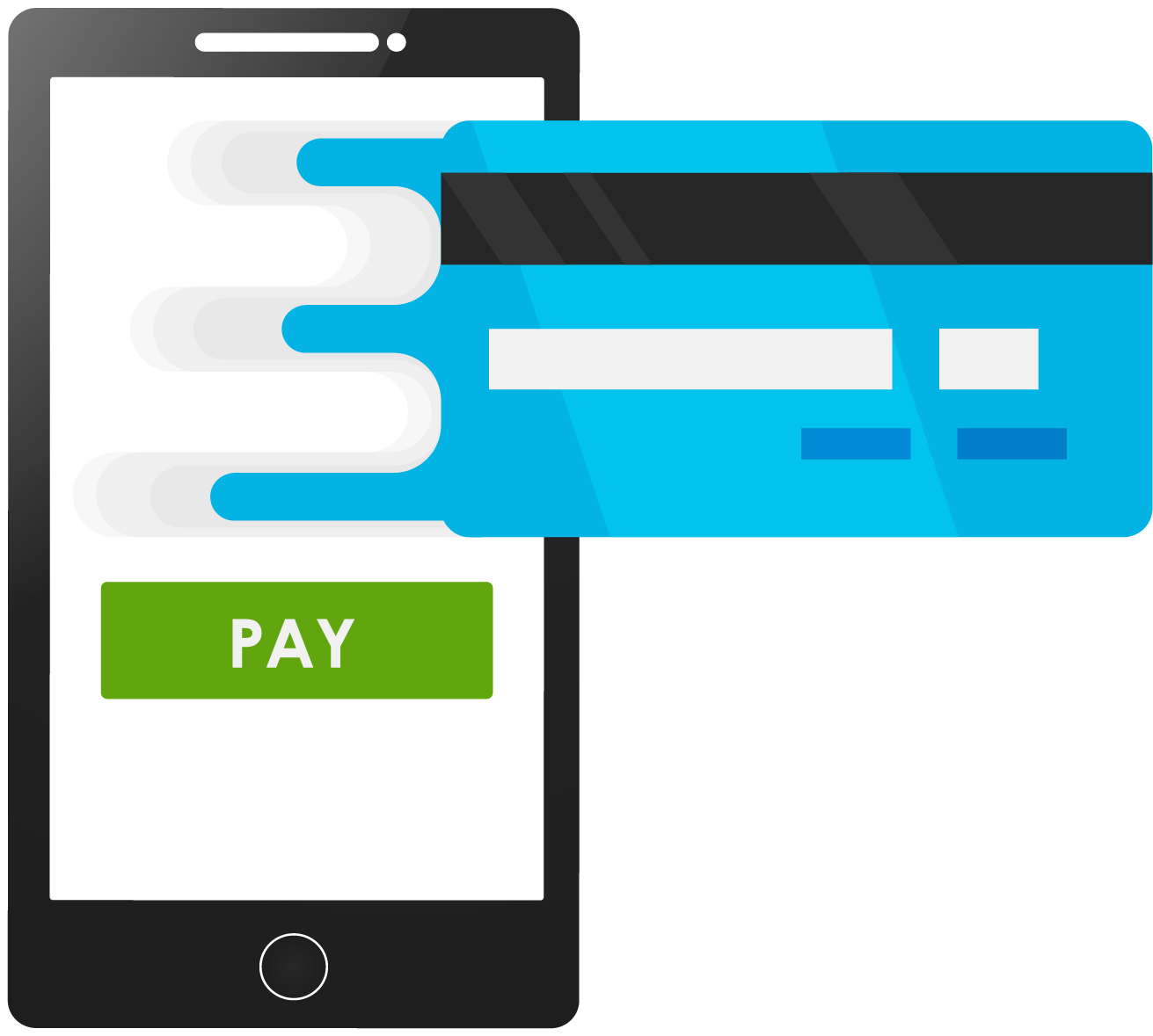 A smartphone with a credit card to pay on mobile devices.