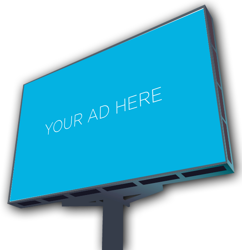 Blue billboard to display your ad.
