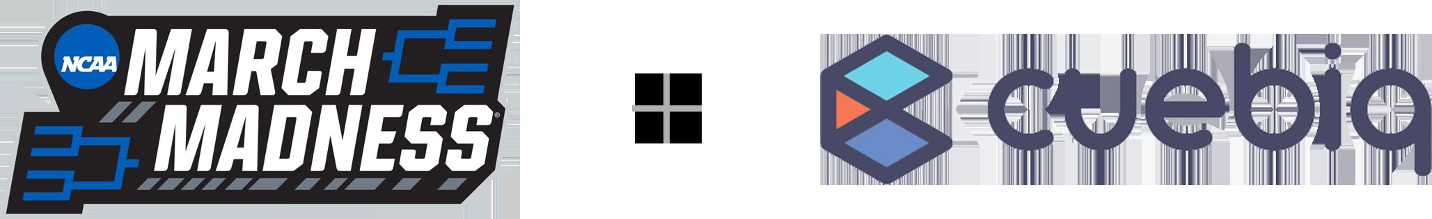 March Madness logo and Cuebiq logo