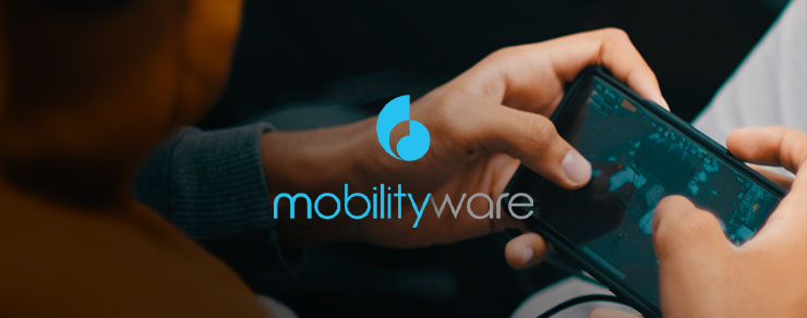 Person playing a game on their smartphone and MobilityWare colored logo