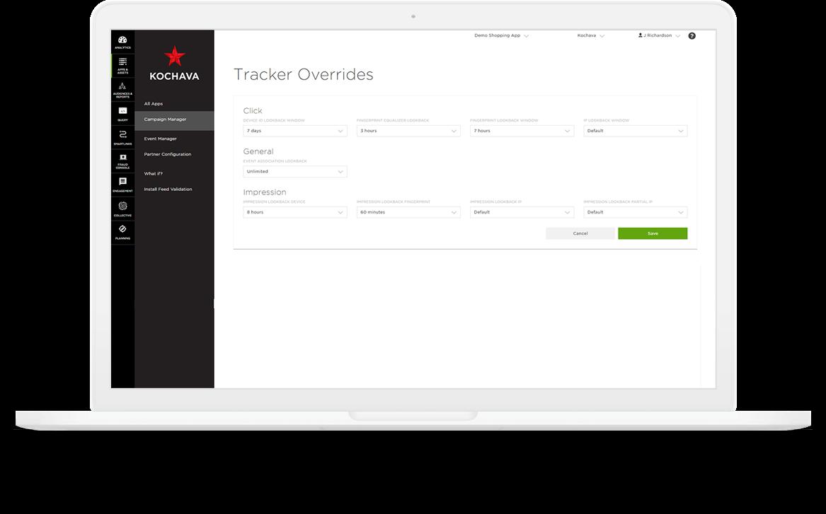 Kochava Tracker Overrides dashboard on a laptop.