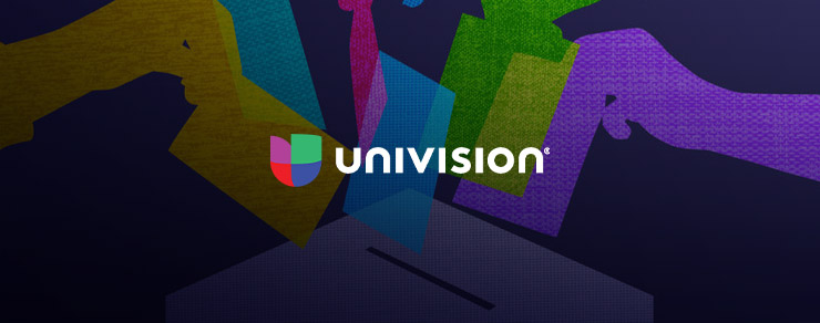 Colorful graphic of placing votes in a ballot box and Univision colored logo