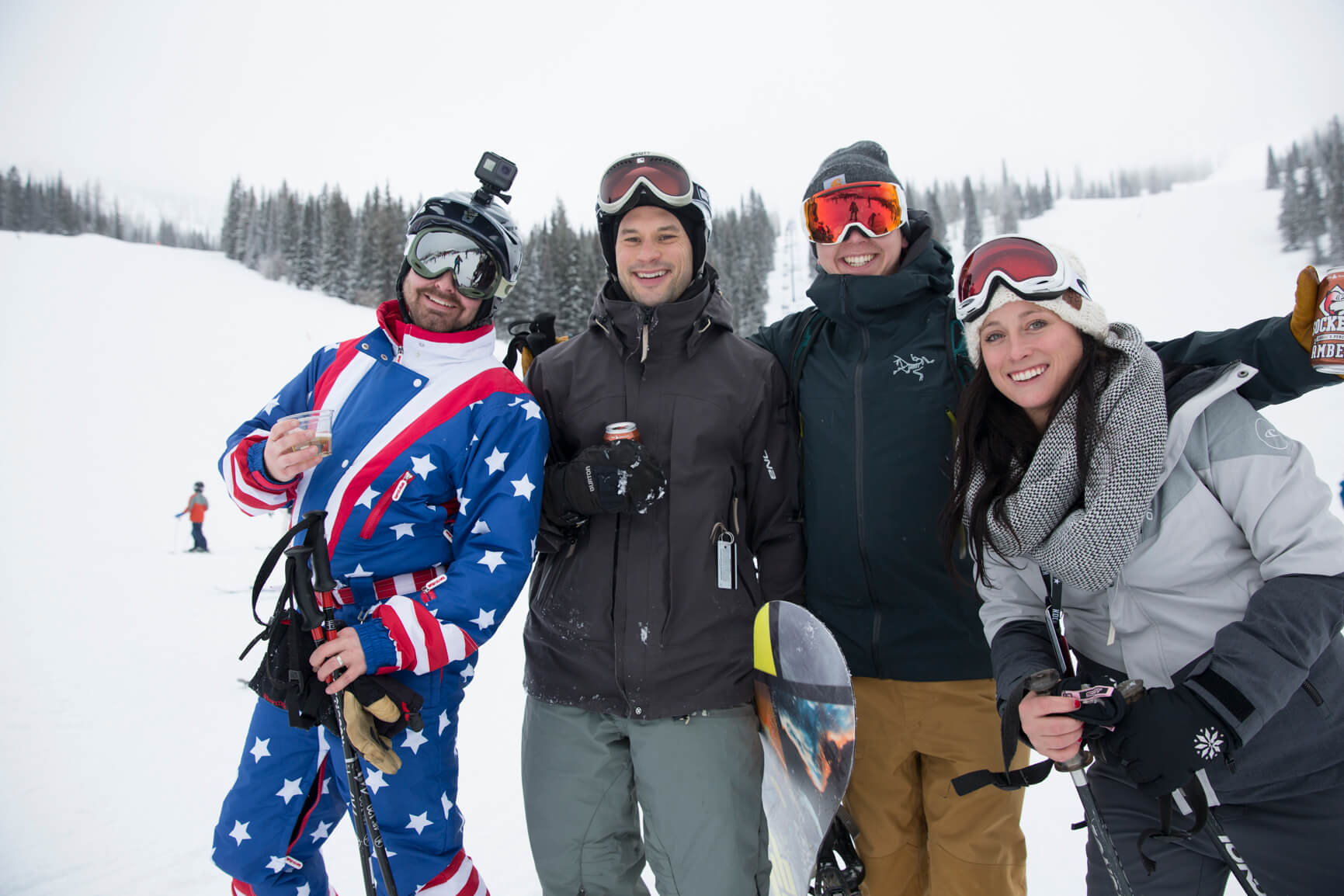Group of friends on the Schweitzer ski mountain.