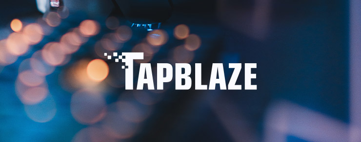 Blurry window with lights and TapBlaze white logo
