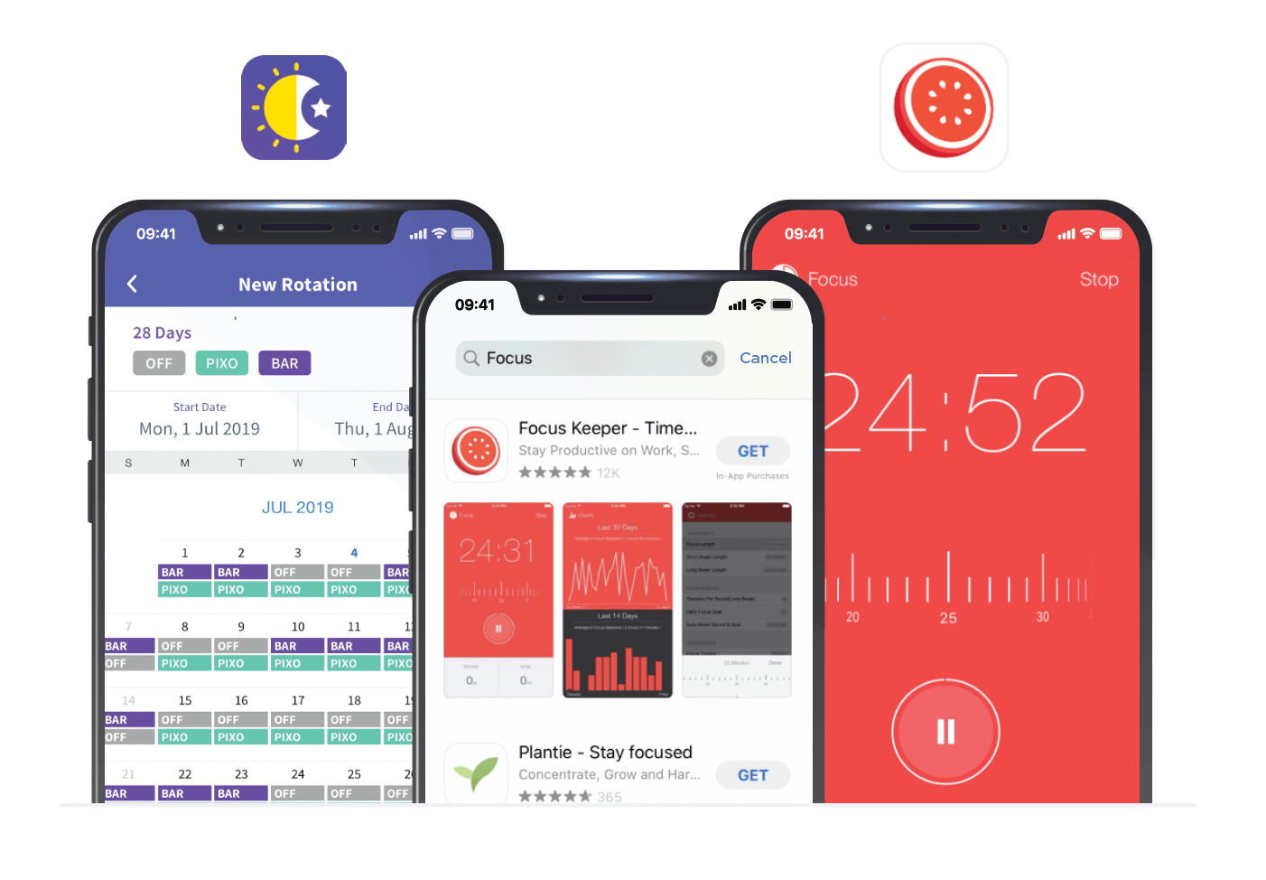 Pixo scheduling and timer apps