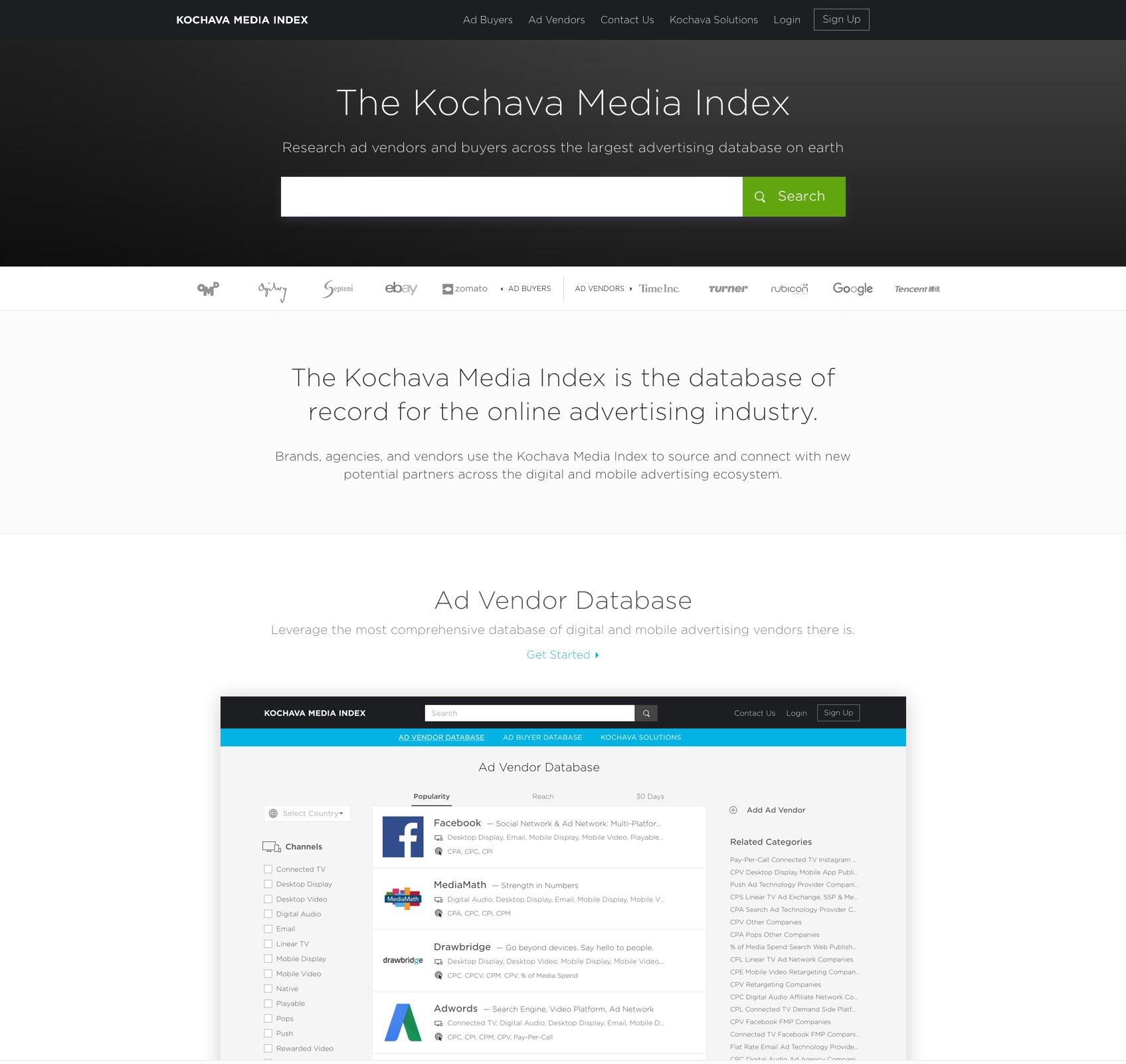 Kochava Media Index advertising database