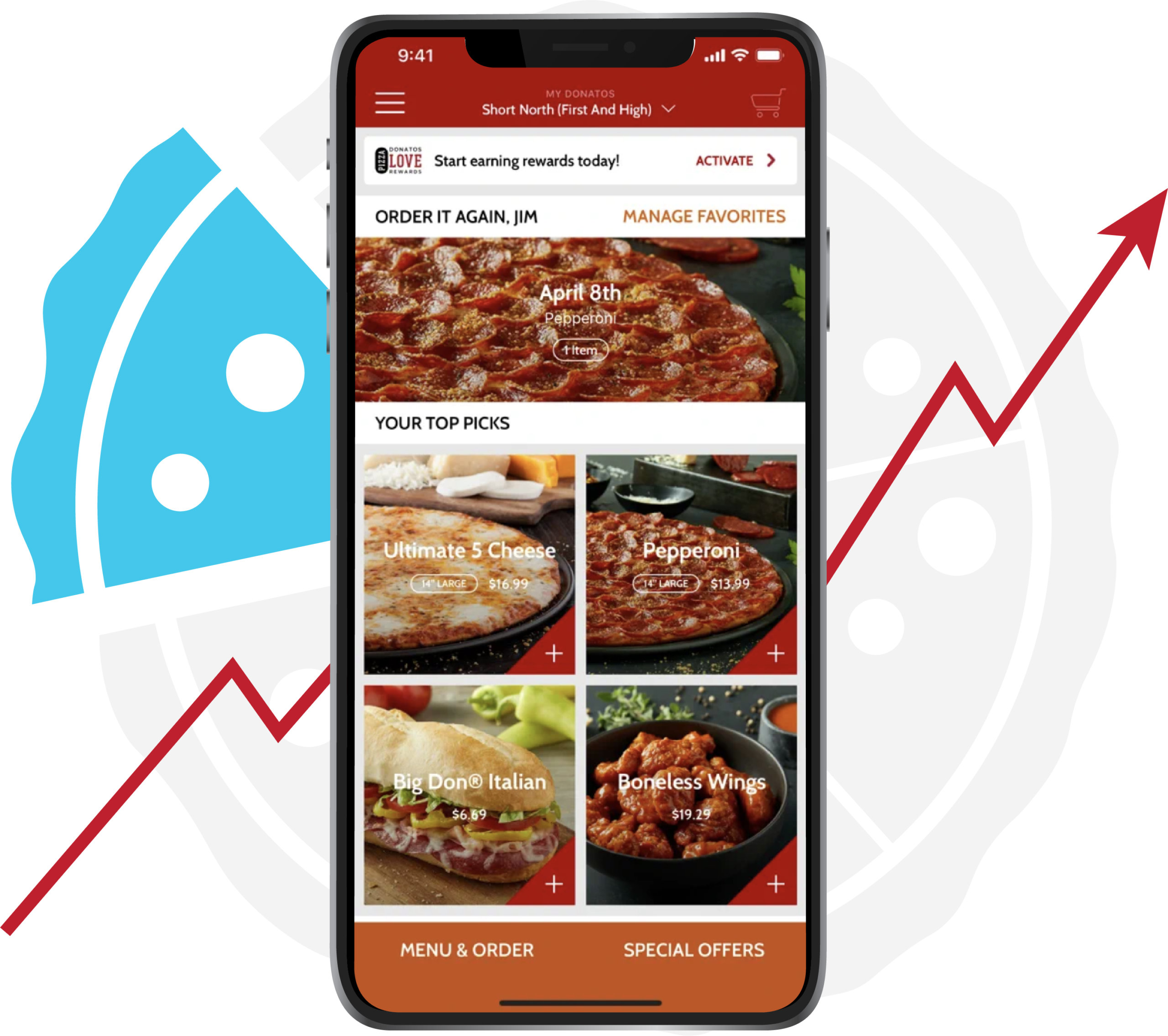 Donatos Pizza app with pizza options to order