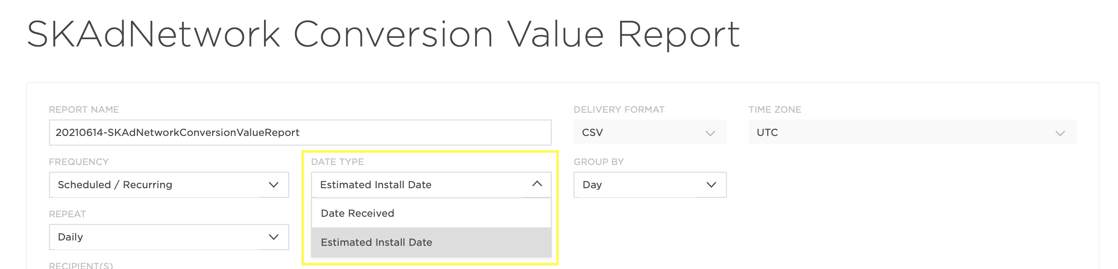 Kochava SKAdNetwork conversion value report