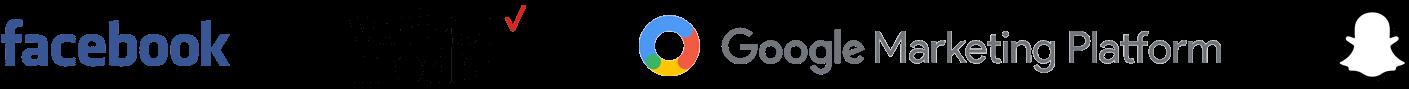 Facebook logo, Verizon Media logo, Google Marketing Platform logo, Snapchat logo